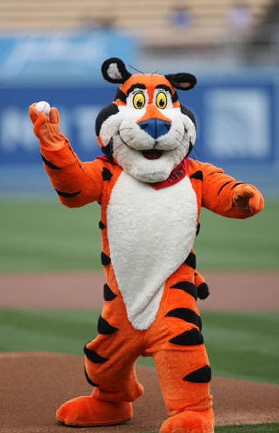 Tony the Tiger throwing out the first pitch at a baseball game. .olympus-mascots.com : tony the tiger costumes  - Germanpascual.Com