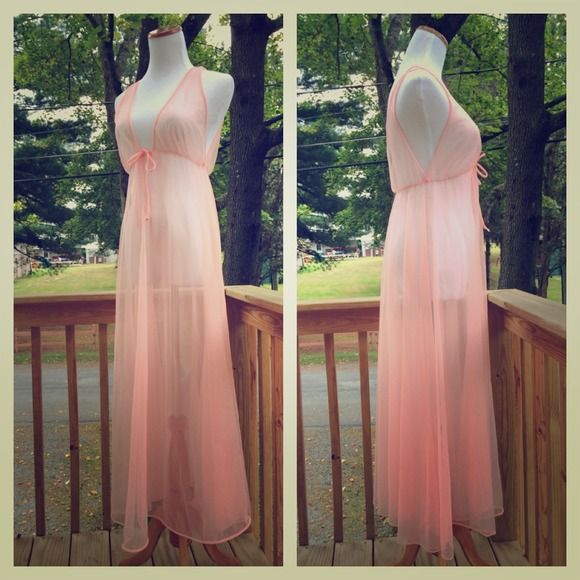 50s/60s Vintage Sheer Neon Pink Nightgown By Montgomery