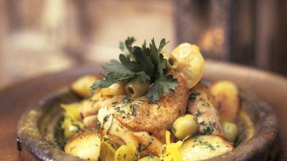 Hähnchen mit Oliven und Salzzitronen aus der Tajine Recipe