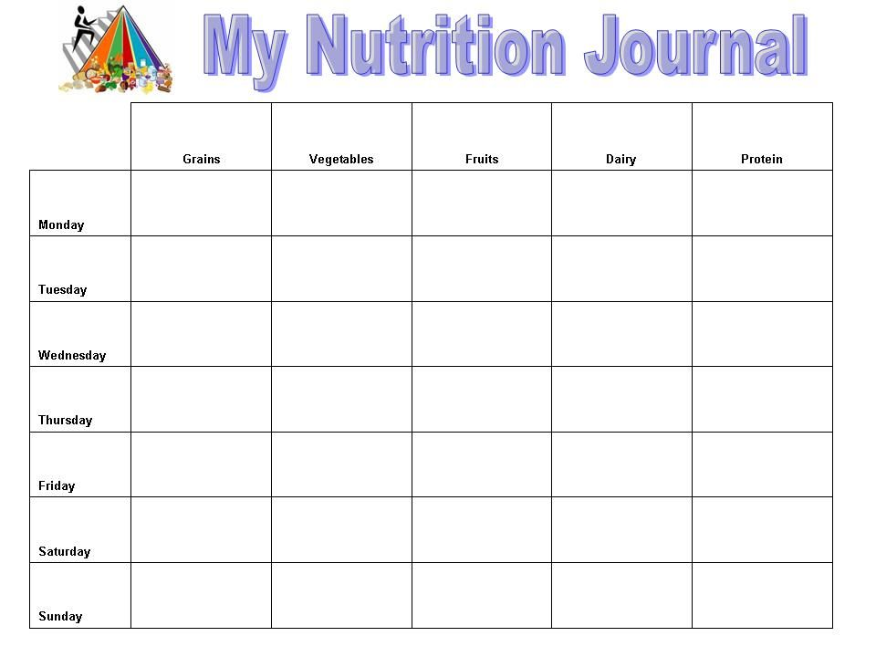 nutrition log template