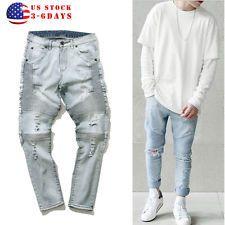 US STOCK! Men's Ripped Skinny Biker Jeans Destroyed Frayed Slim Fit Denim Pants