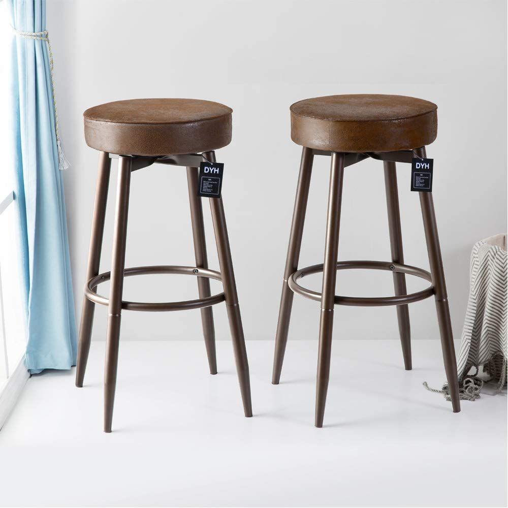 Dyh Metal Bar Stools Set Of 2 Swivel Chocolate Kitchen Counter