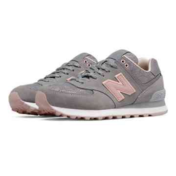 new product b4ae2 aa71a ... Shoes 574 Nouveau Lace, Steel with Charm Shell Pink (size New Balance  574 - Womens - Running ...