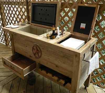 Patio Cooler Cart Wood Bar Table Outdoor Wine Rack Beer Chest Ice Cube Tray  Star