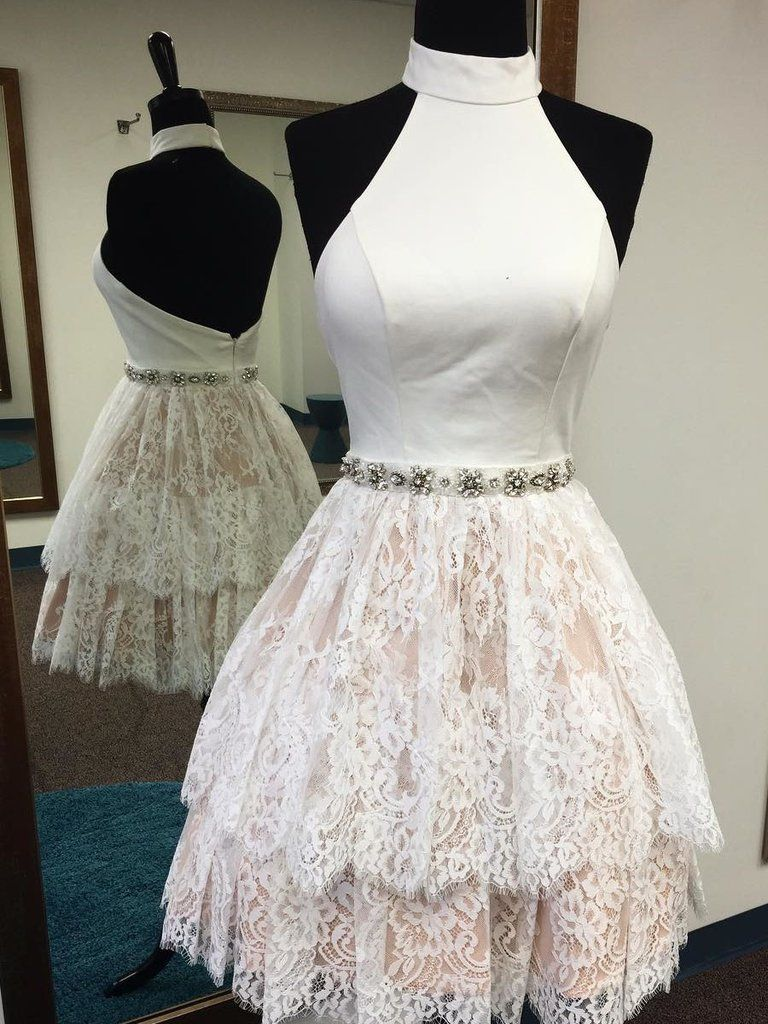 High neck white short lace backless homecoming dressh strong