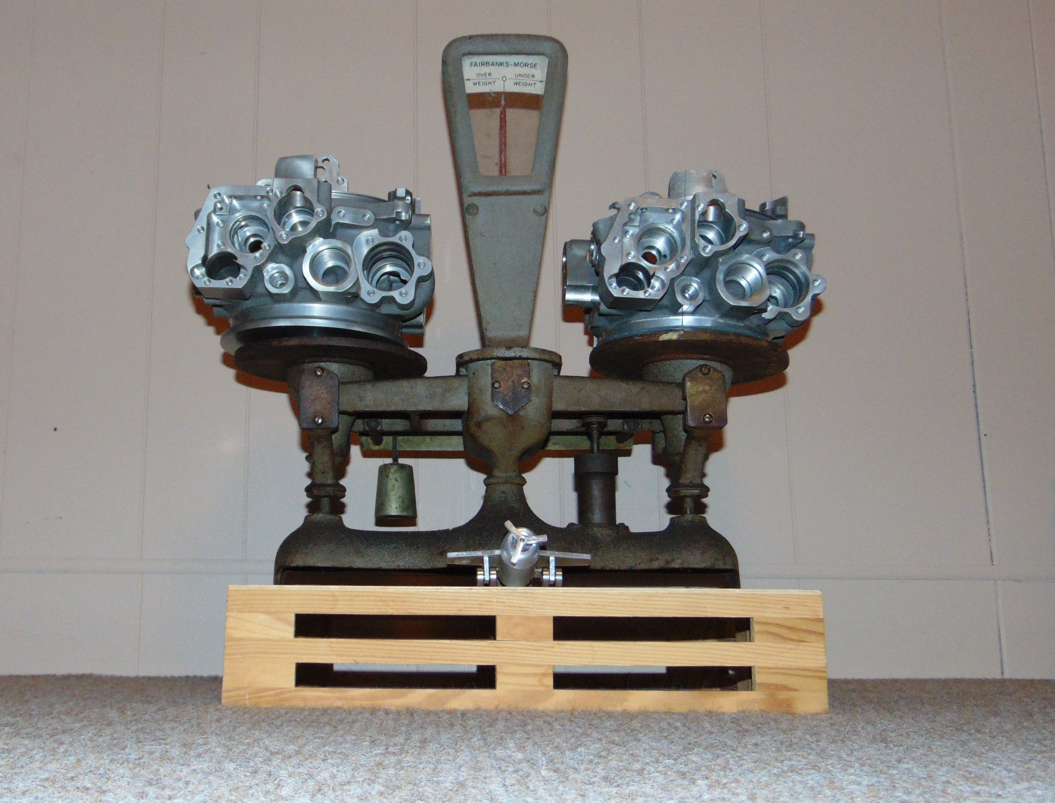 A whimsical display of a Fairbanks-Morse scale with two of
