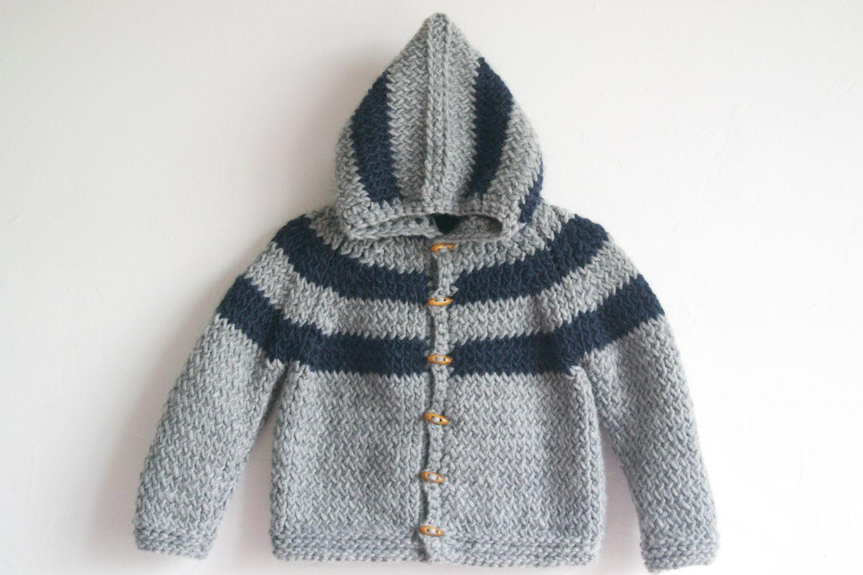 a9720840f Hand Knitted Baby Boy Wool-Alpaca Hoodie Cardigan