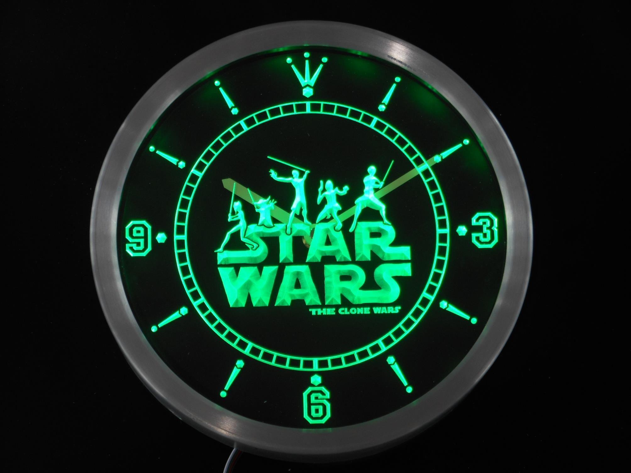 Nc0218 Star Wars The Clone Wars Jedi Neon Sign Led Wall Clock Led Wall Clock Bud Light Lime Dr Pepper