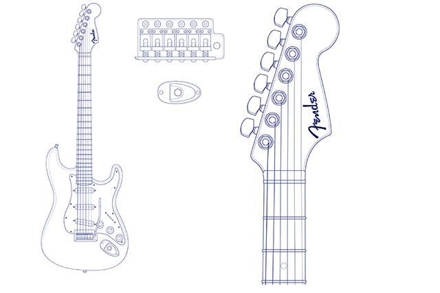 Fender stratocaster headstock template fender stratocaster for Fender bass headstock template