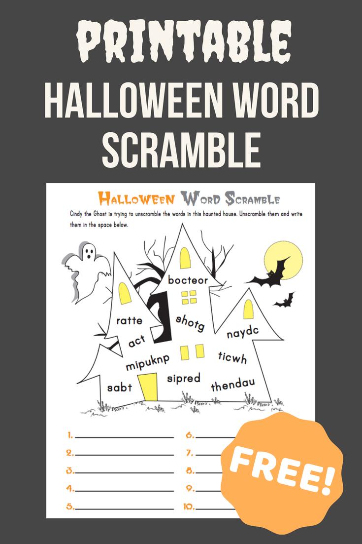 halloween word scramble | halloween | pinterest