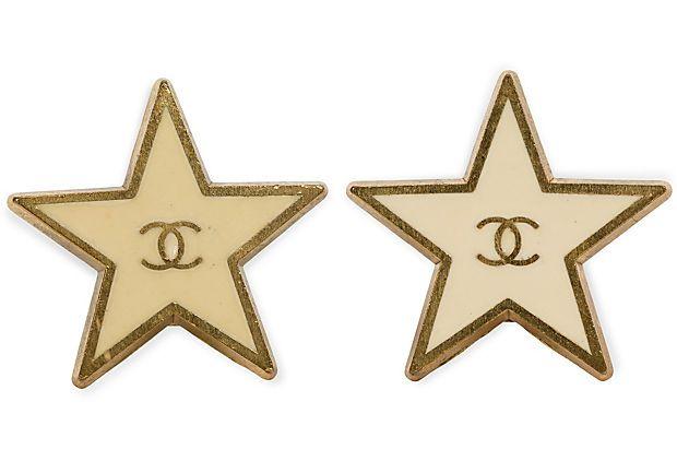 Chanel Enamel Star Button Earrings on OneKingsLane.com