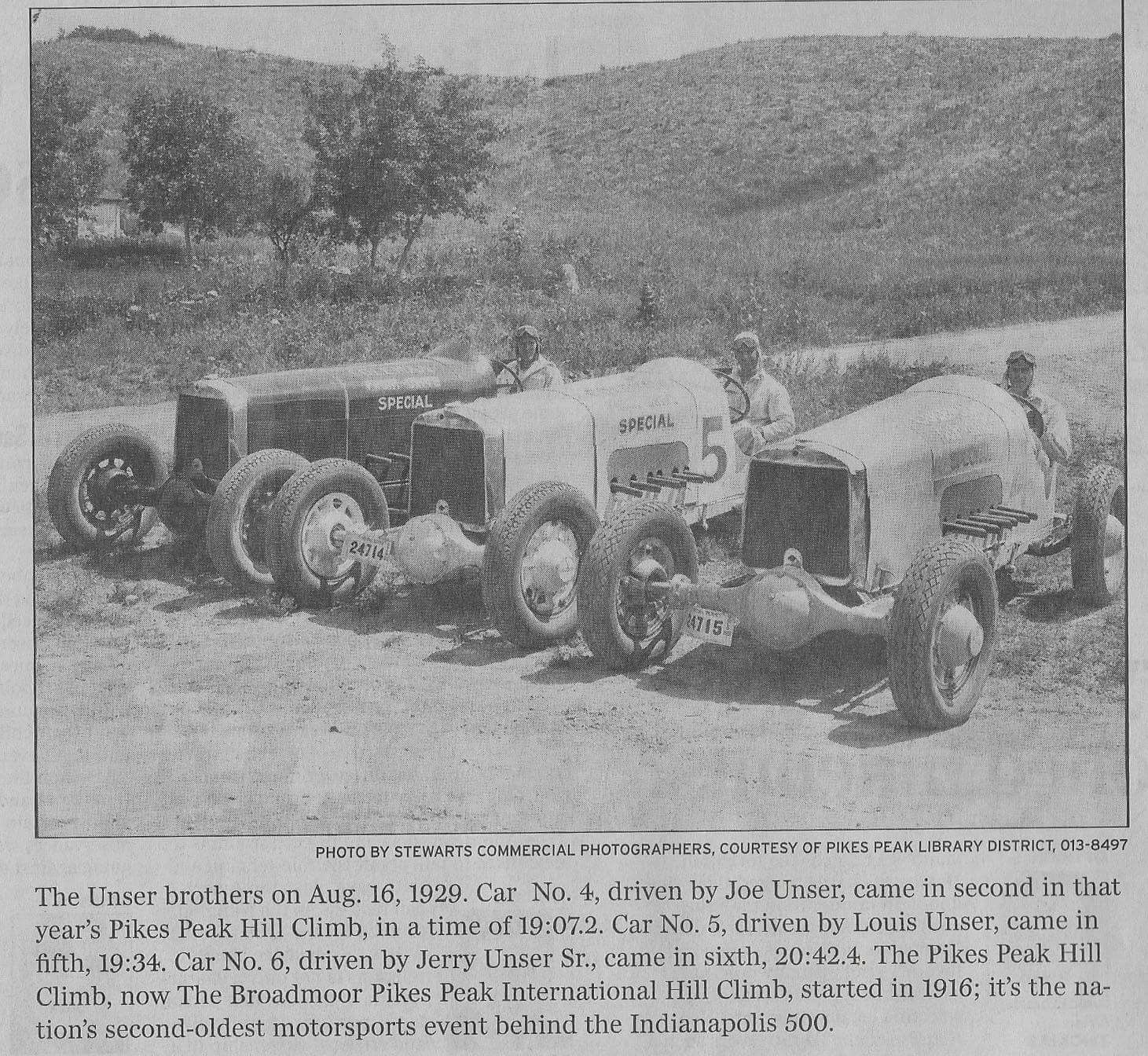 Unser Brothers In 1929 At Pikes Peak Hill Climb
