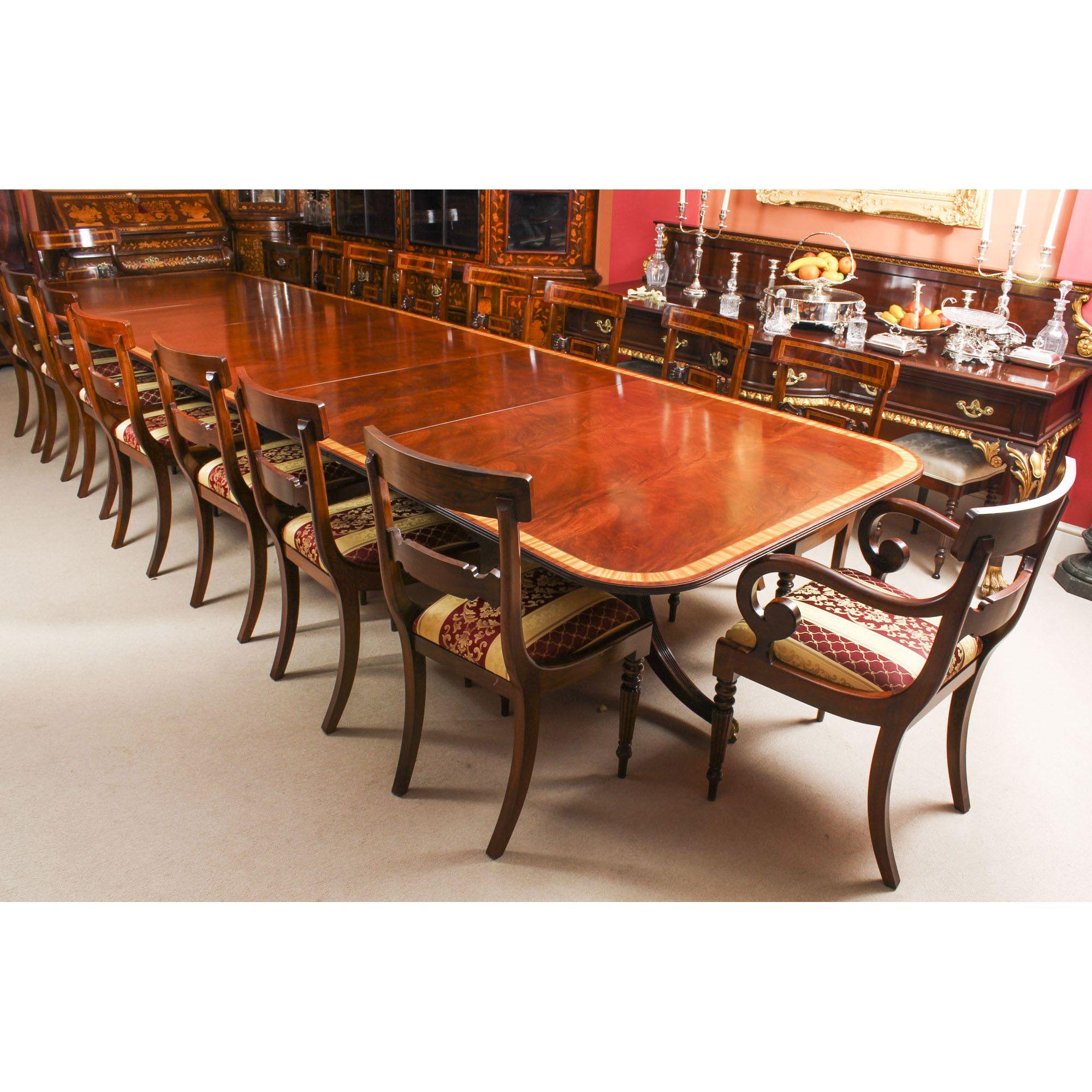 Vintage Arthur Brett Three Pillar Mahogany Dining Table 16 Chairs