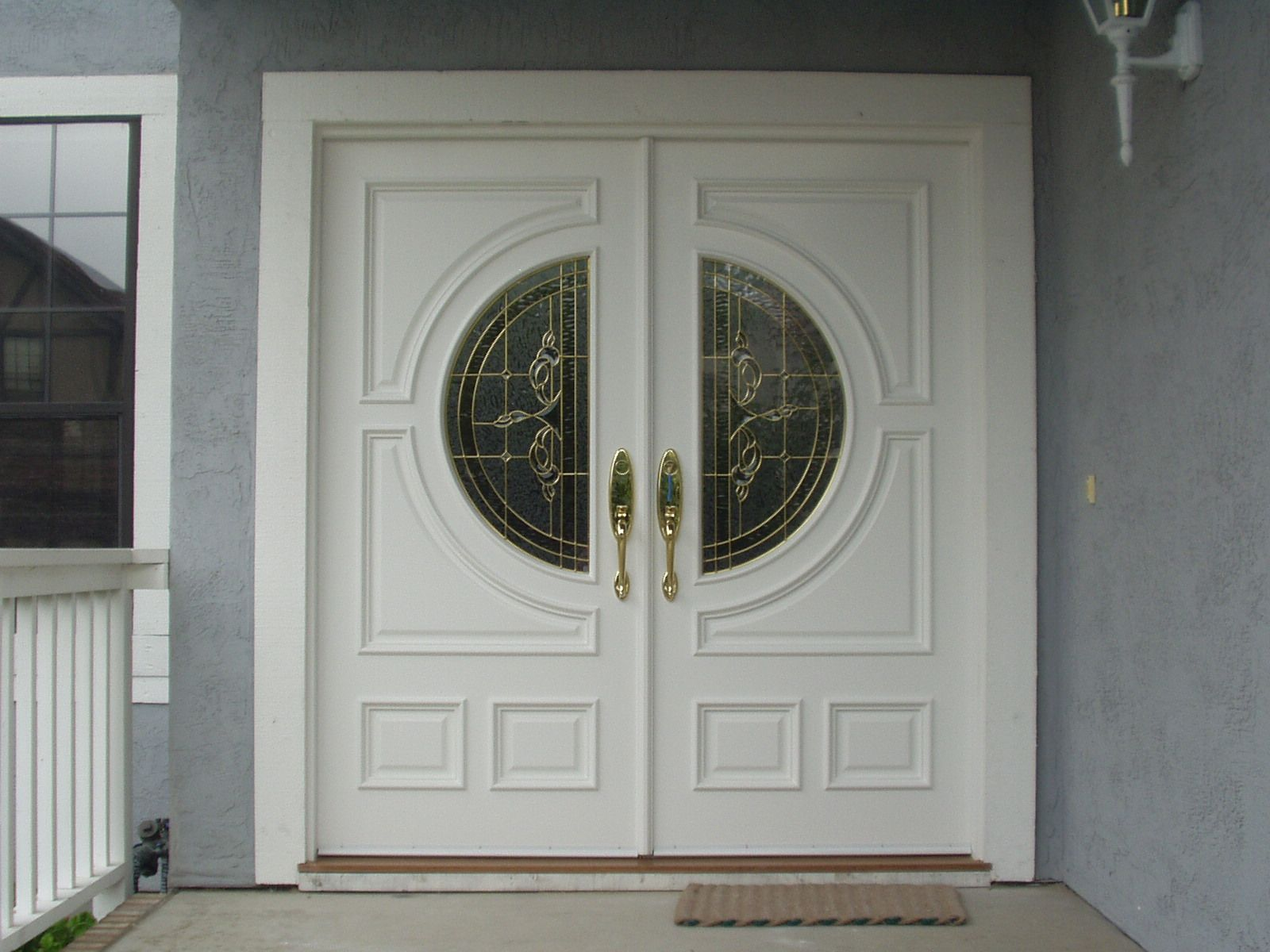 Double entry doors door designs images front doors for Exterior wooden door designs