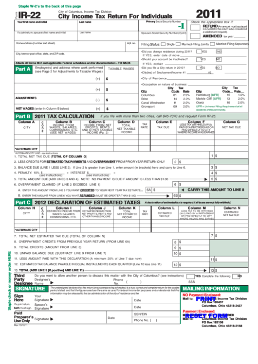 City Income Tax Return For Individuals Spreadsheet  Us Tax Forms