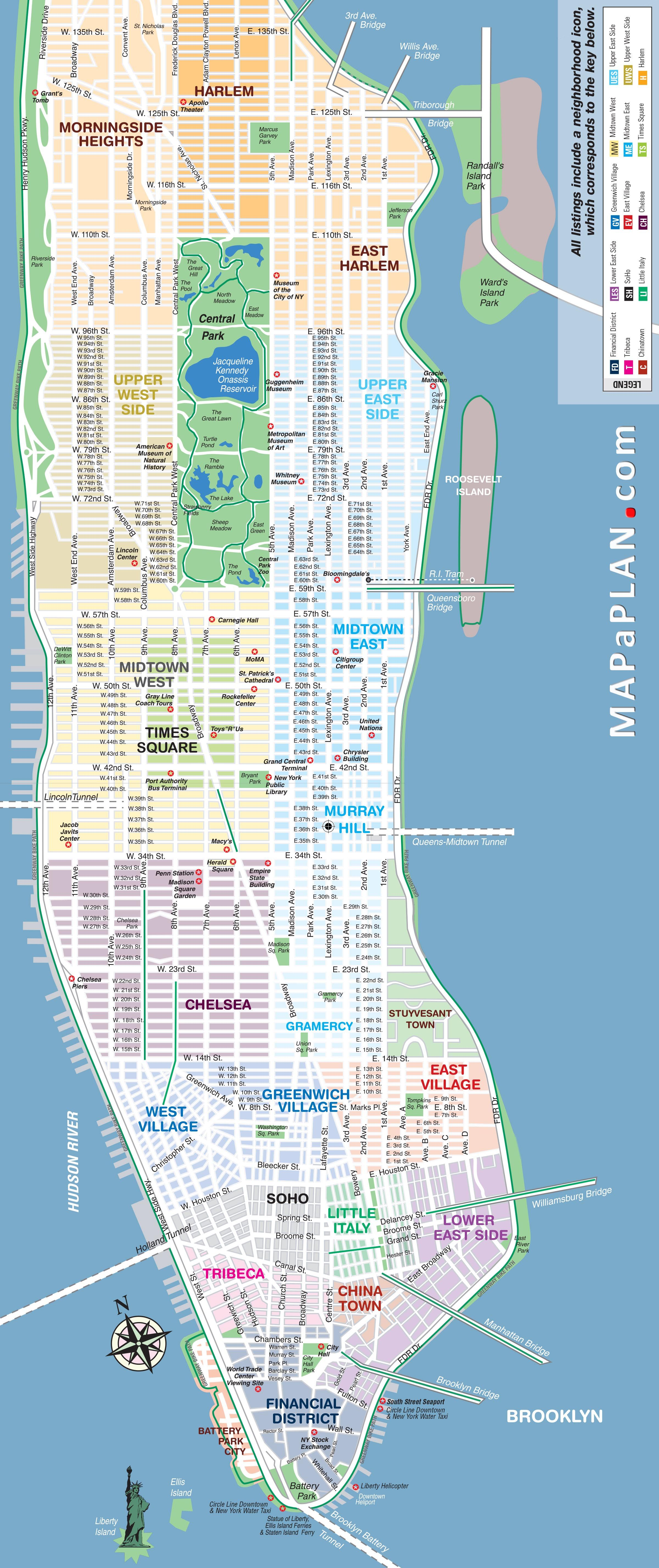 In three days new york top tourist attractions map new for Attractions for new york