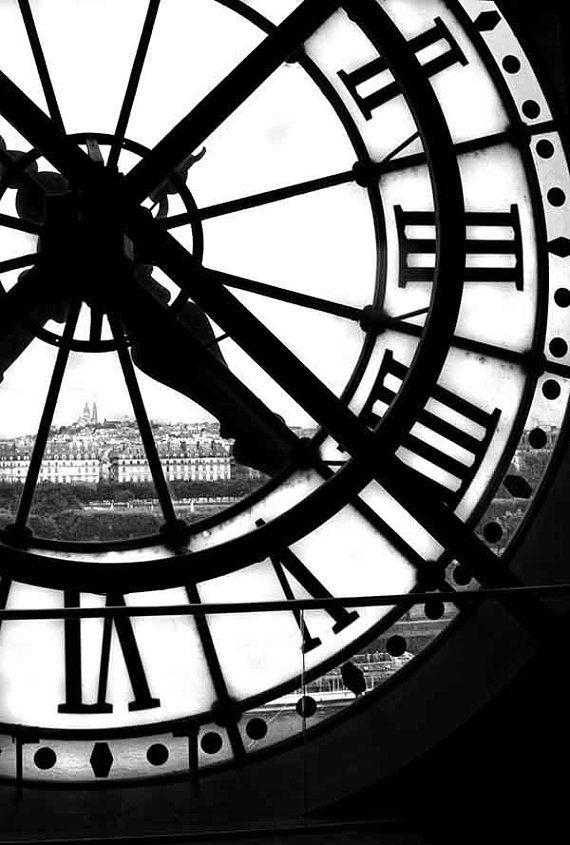BW Paris Print Orsay Museum Clock Paris Photography Modern | Etsy