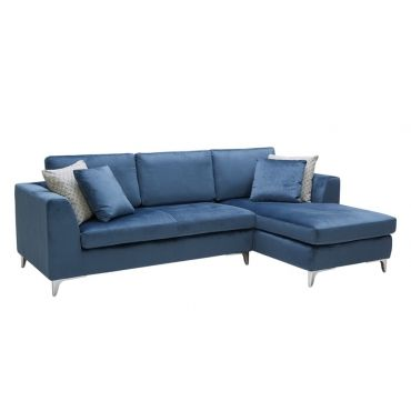 Virgilio Sofa Chaise Ink Blue Fabric