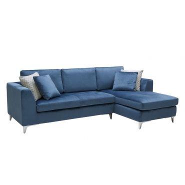 Virgilio Sofa Chaise Ink Blue Fabric