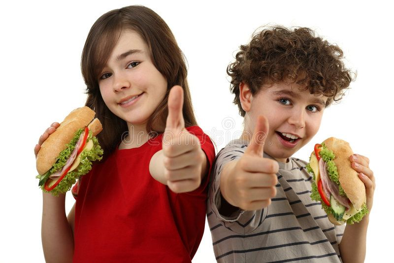 Kids eating healthy sandwiches. Showing OK sign, isolated