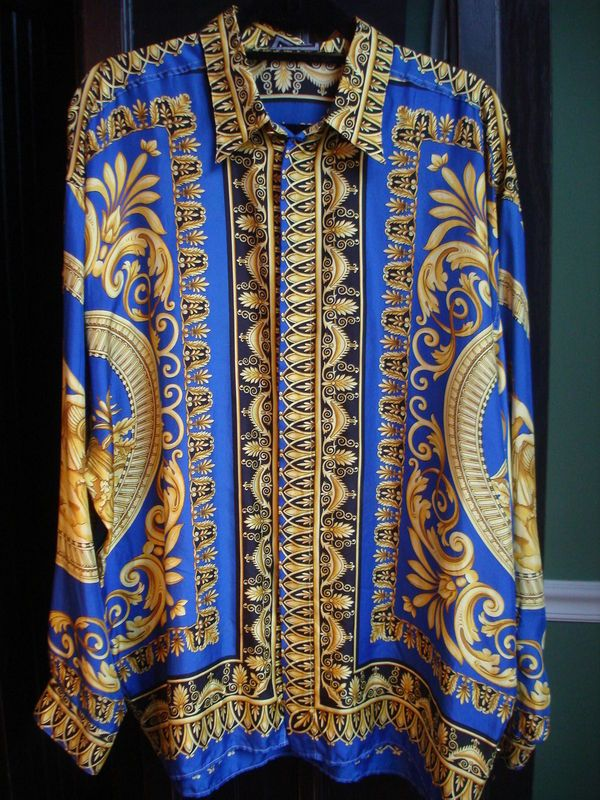 Men s Vintage Versace Classic V2 100% Silk Yellow Blue Silk Shirt sz ... 8e364c47b86