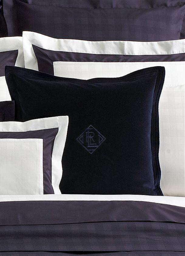 ralph lauren navy velvet throw pillow