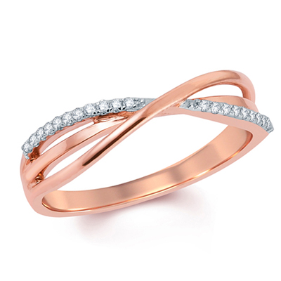 Zales Ladies Diamond Accent Criss-Cross Wedding Band in 10K Rose Gold y0wZQ