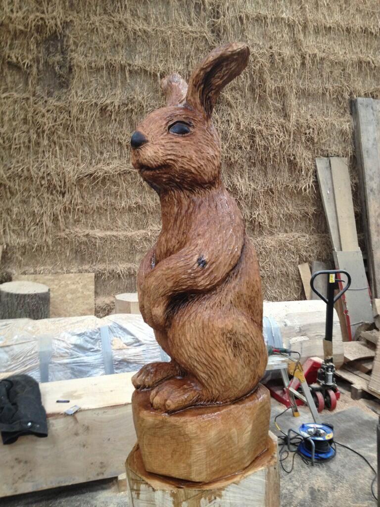 6' high oak rabbit.   By Andy Burgess @BurgessSculptor