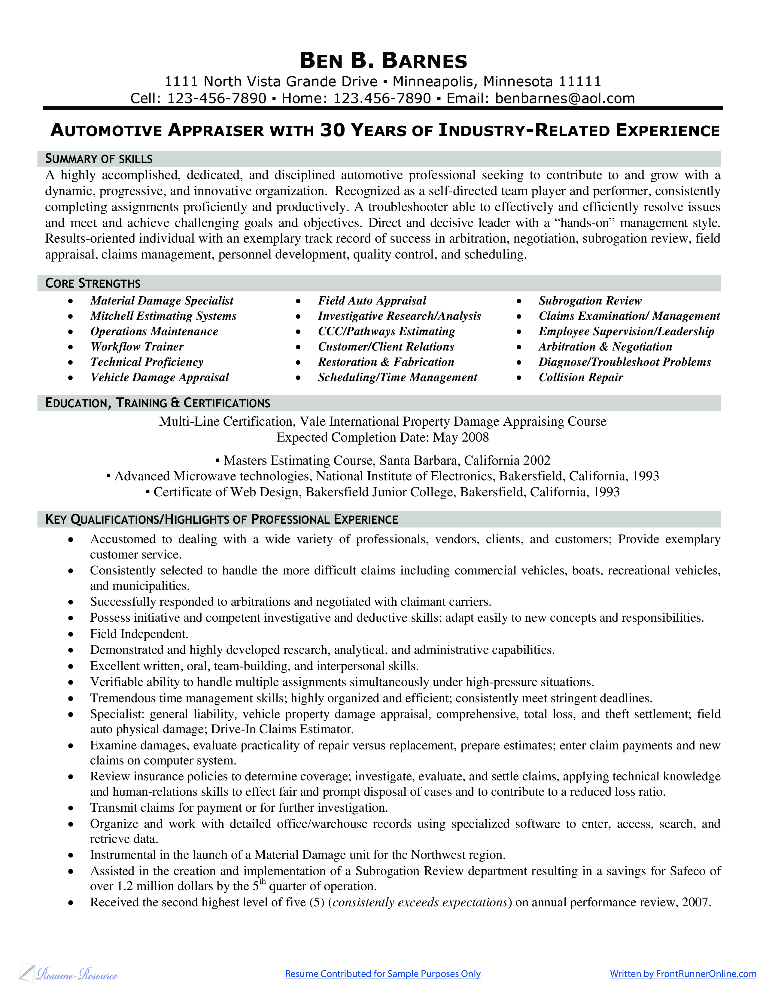 microsoft word - automotive appraiser  u0026 adjuster resume