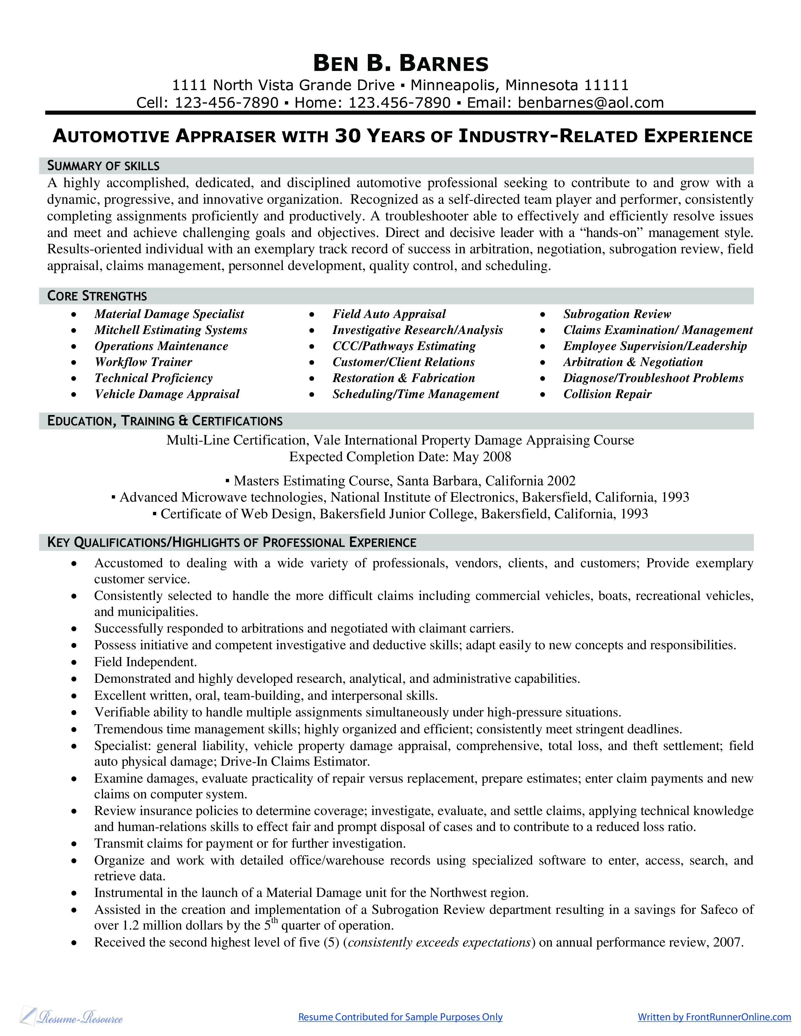 template for insurance appraiser resume
