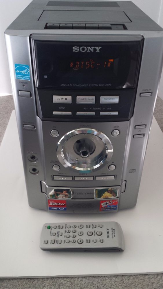Working Sony Mhc Ec70 Mini Stereo Hi Fi W Remote 3 Disc And Cassette Player Cassette Player Hifi Sony