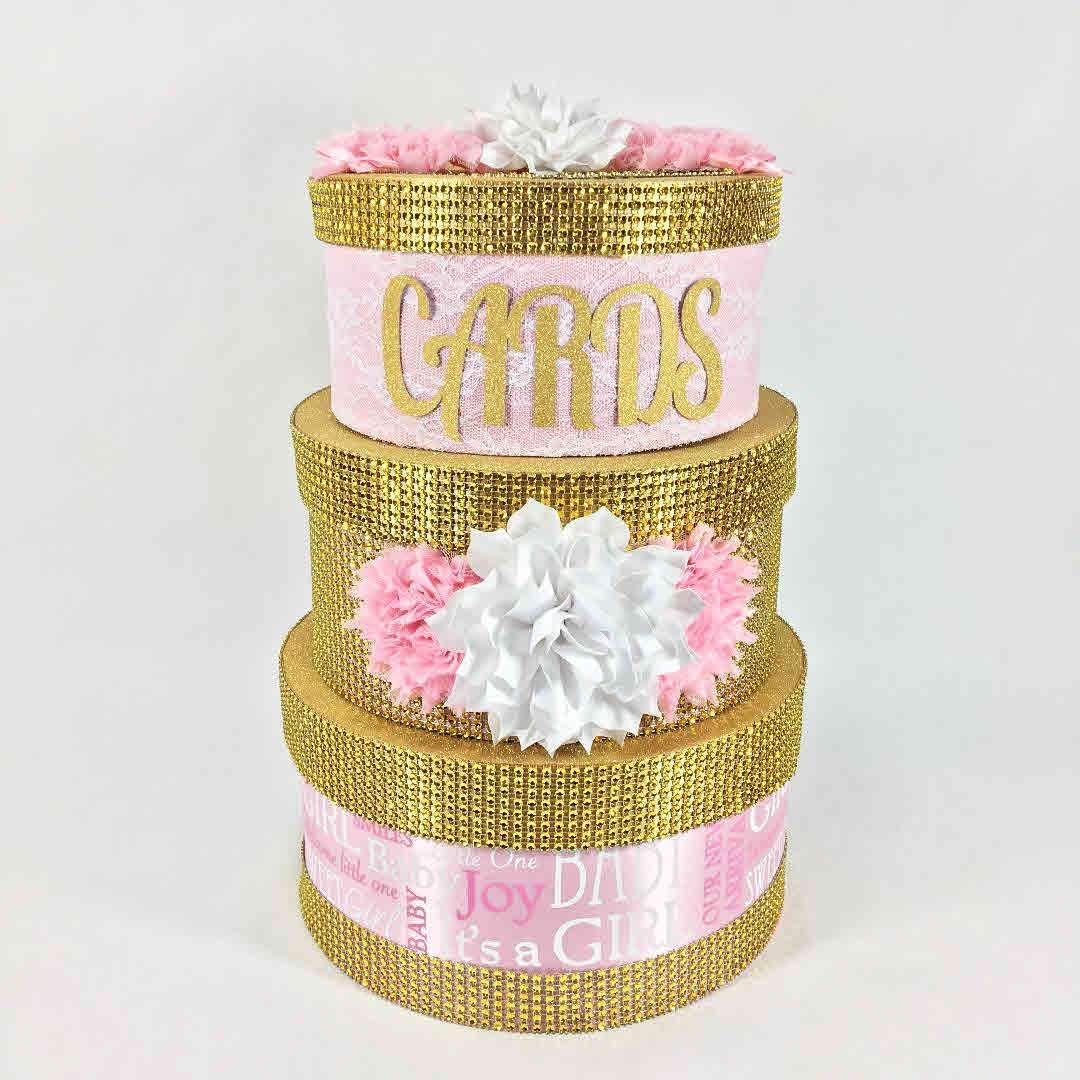 3tier pink gold baby shower card box with images