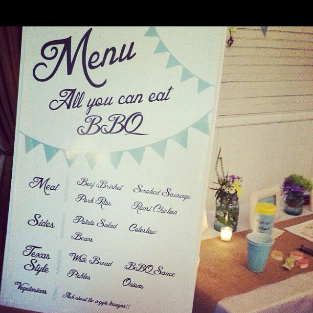 Make A Sign For BBQ Rehearsal, Reception Dinner Menus