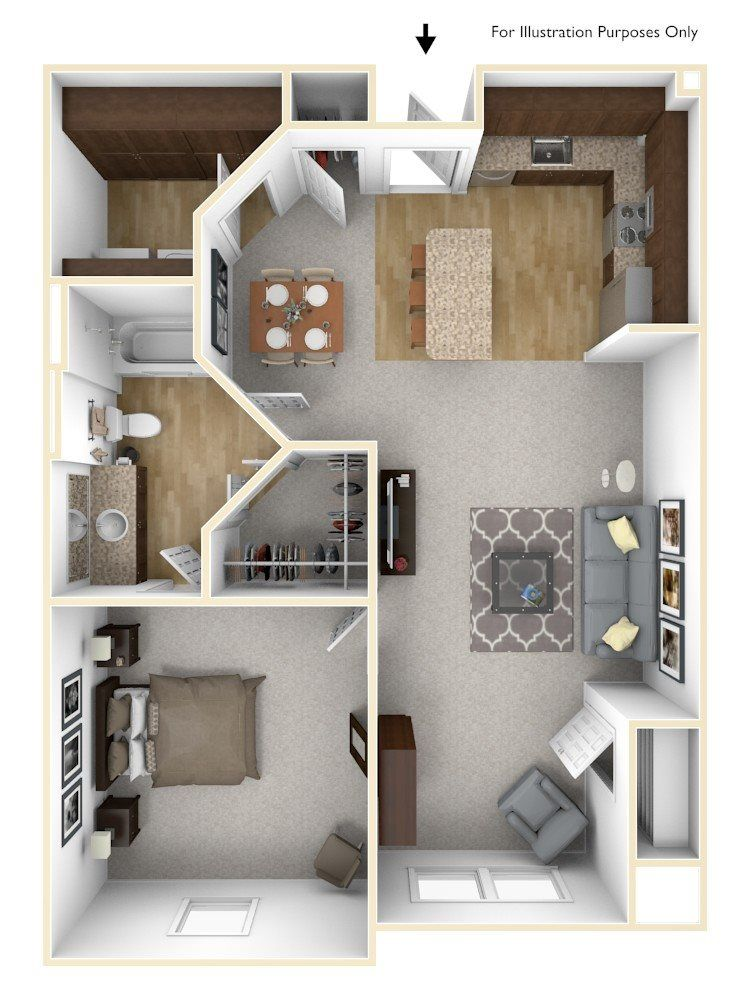 Floor Plans of The Grand Castle Apartment Homes in Grandville MI