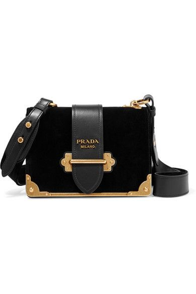 802aa1d04f8f PRADA Cahier Leather-Trimmed Velvet Shoulder Bag. #prada #bags #shoulder  bags #hand bags #velvet #leather #