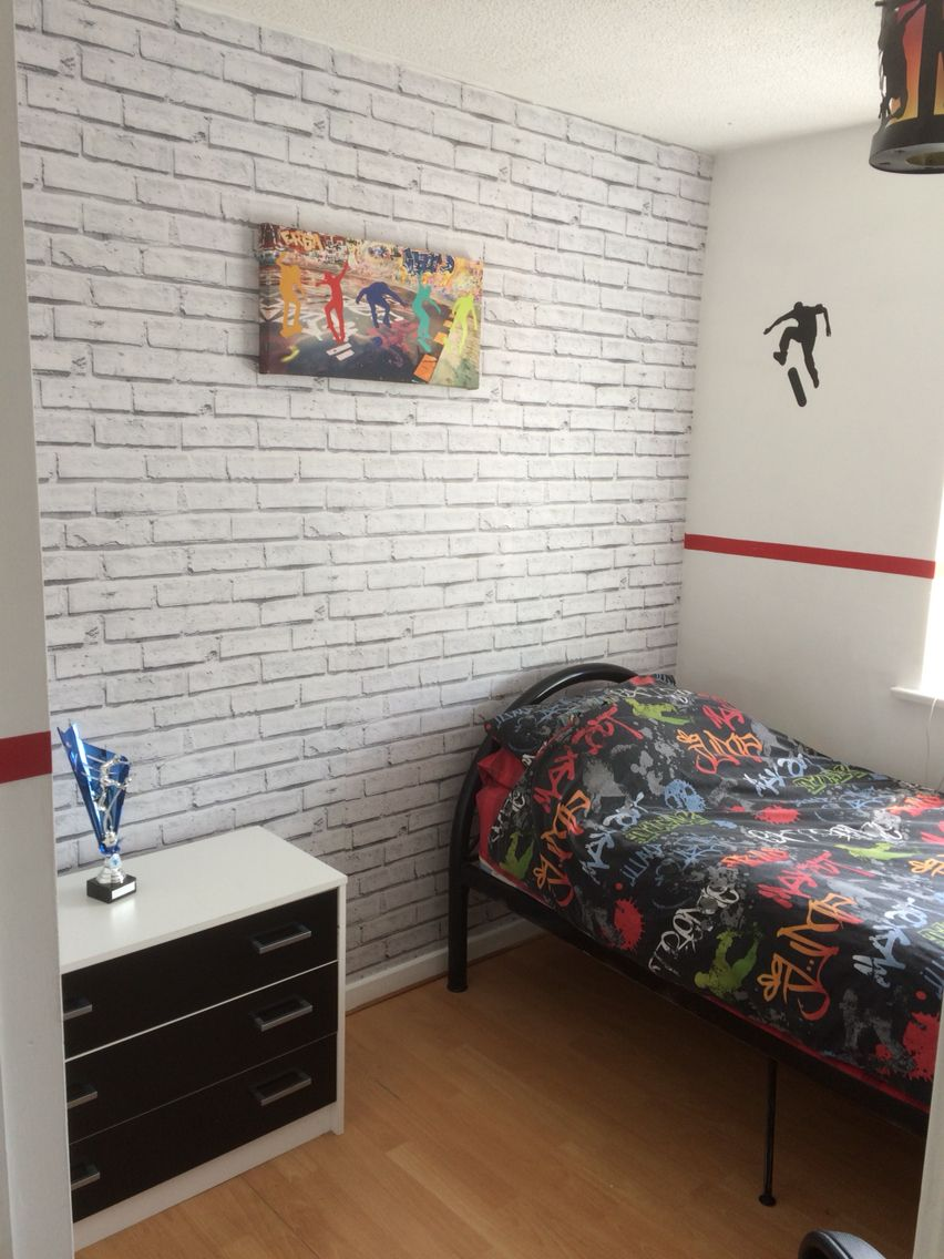 Best Revamp Sons Bedroom With Brick Wallpaper Brick 400 x 300