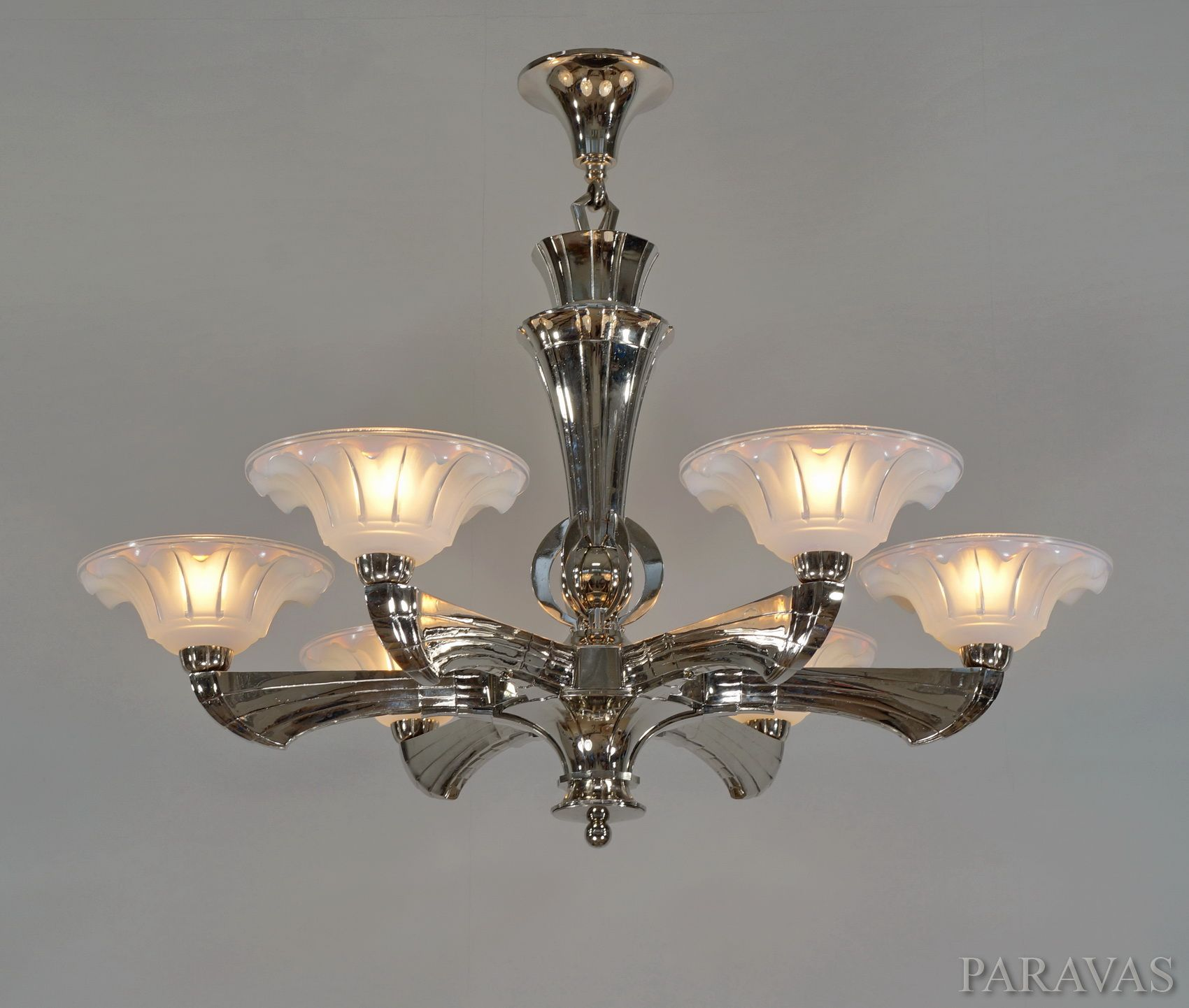 Ezan large french art deco chandelier around 1935 holding six ezan large french art deco chandelier around 1935 holding six opalescent ezan cups arubaitofo Choice Image