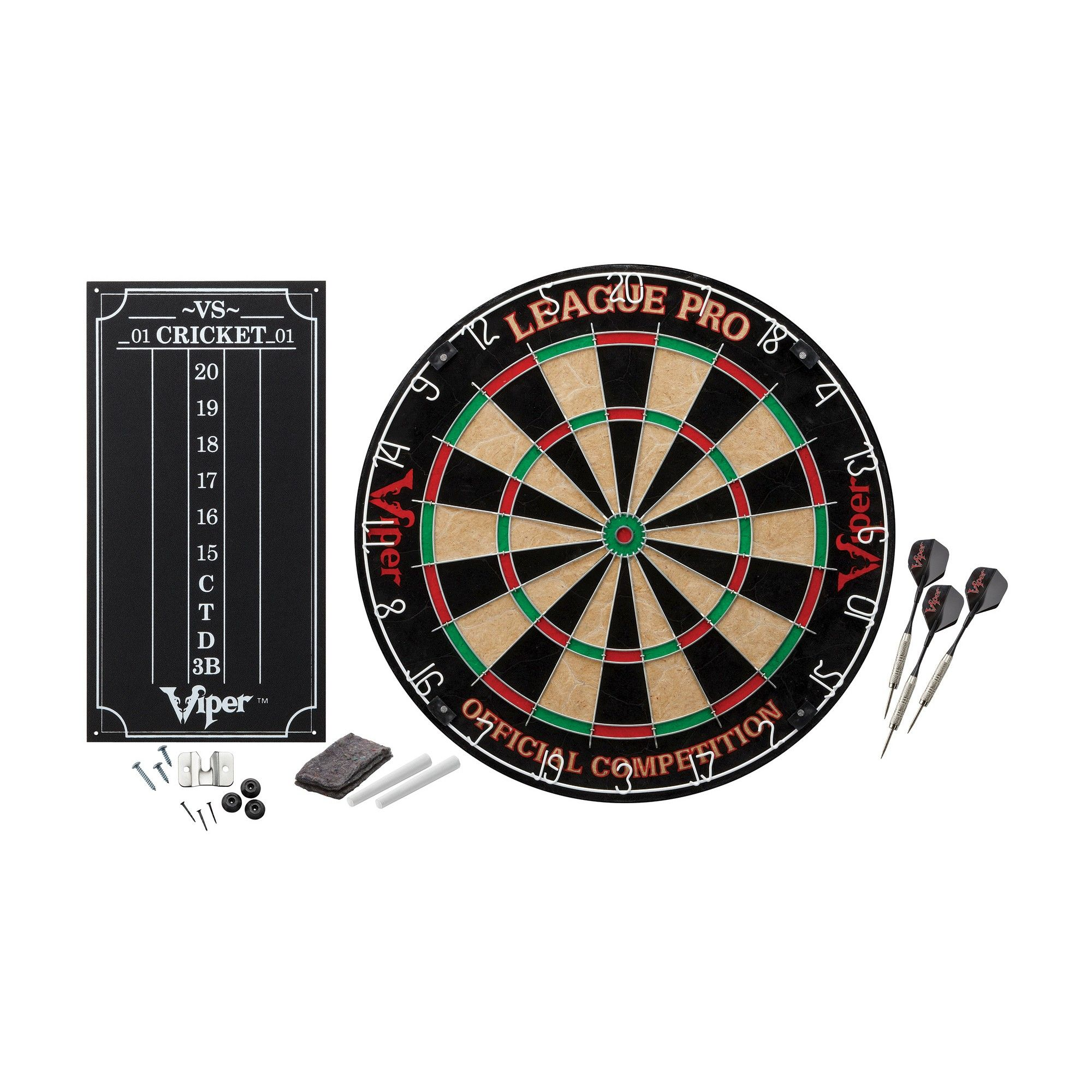 Viper Dead On Sisal//Bristle Steel Tip Dartboard with Staple-Free Bullseye