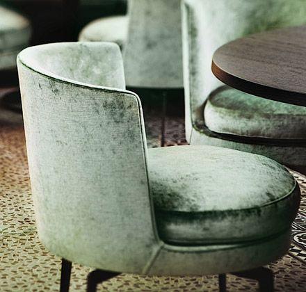 Green velvet chairs by Flexform in The Jane restaurant, Antwerp, Belgium, designed by Piet Boon, #designer #chairs #velvet // Ethnic Chic