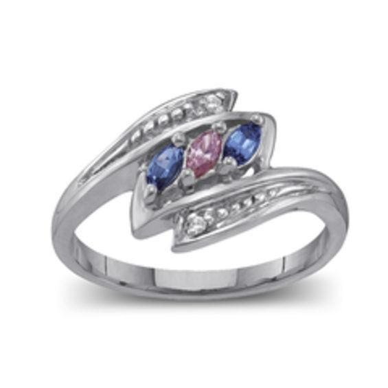 Zales Mothers Birthstone and Diamond Accent Twist Shank Bypass Ring (2-7 Stones) jZZMLKPyZz