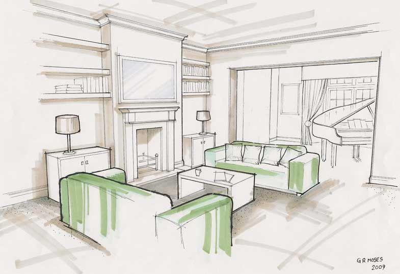 Living Room Drawings living-room | rendering | grayscale | pinterest | sketches