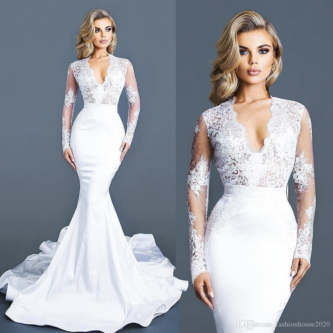 Elegant white lace long sleeve wedding dresses v neck applique