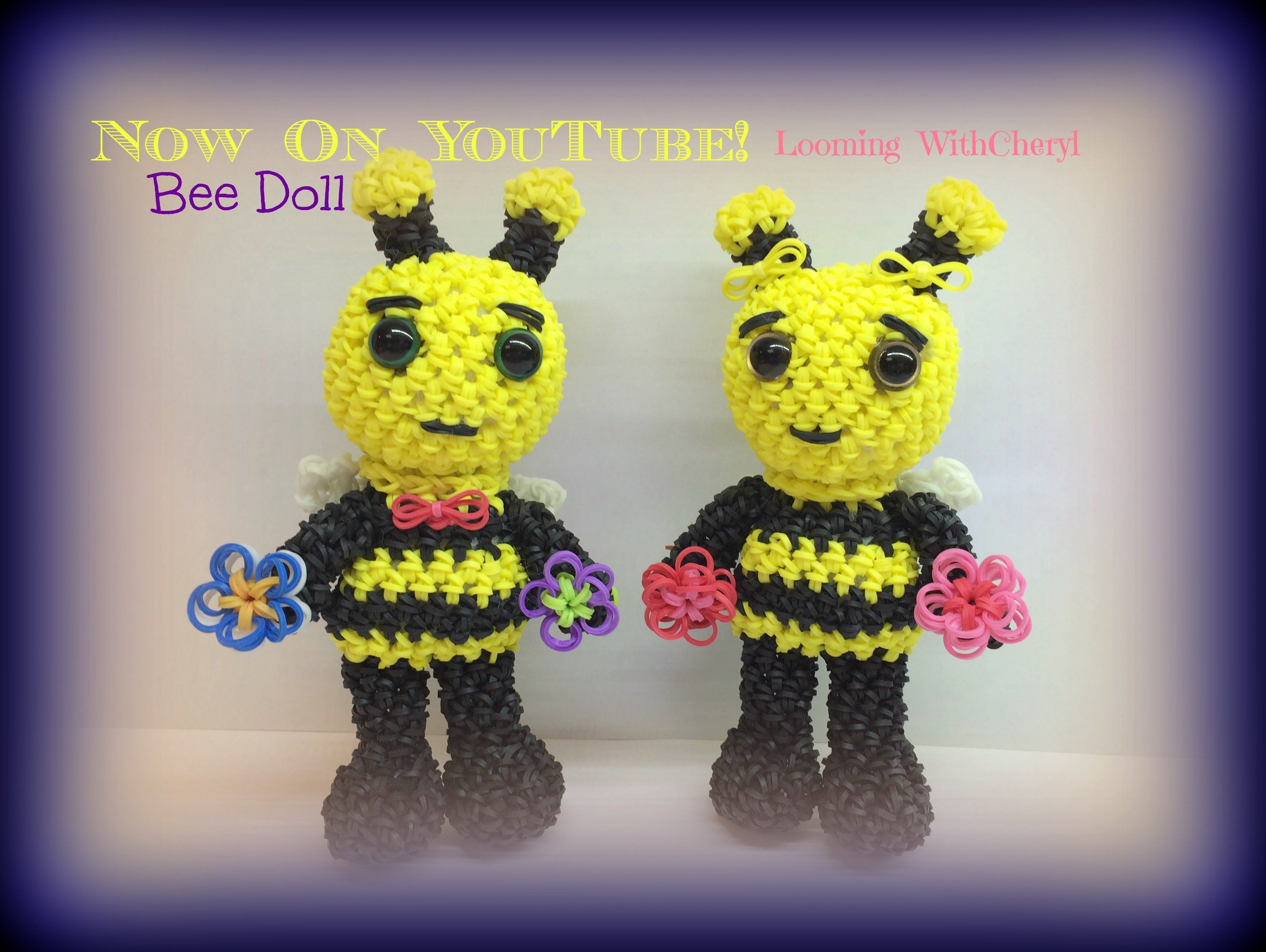 Amigurumi Loom Patterns : Rainbow loom bee doll loomigurumi amigurumi hook only пчела