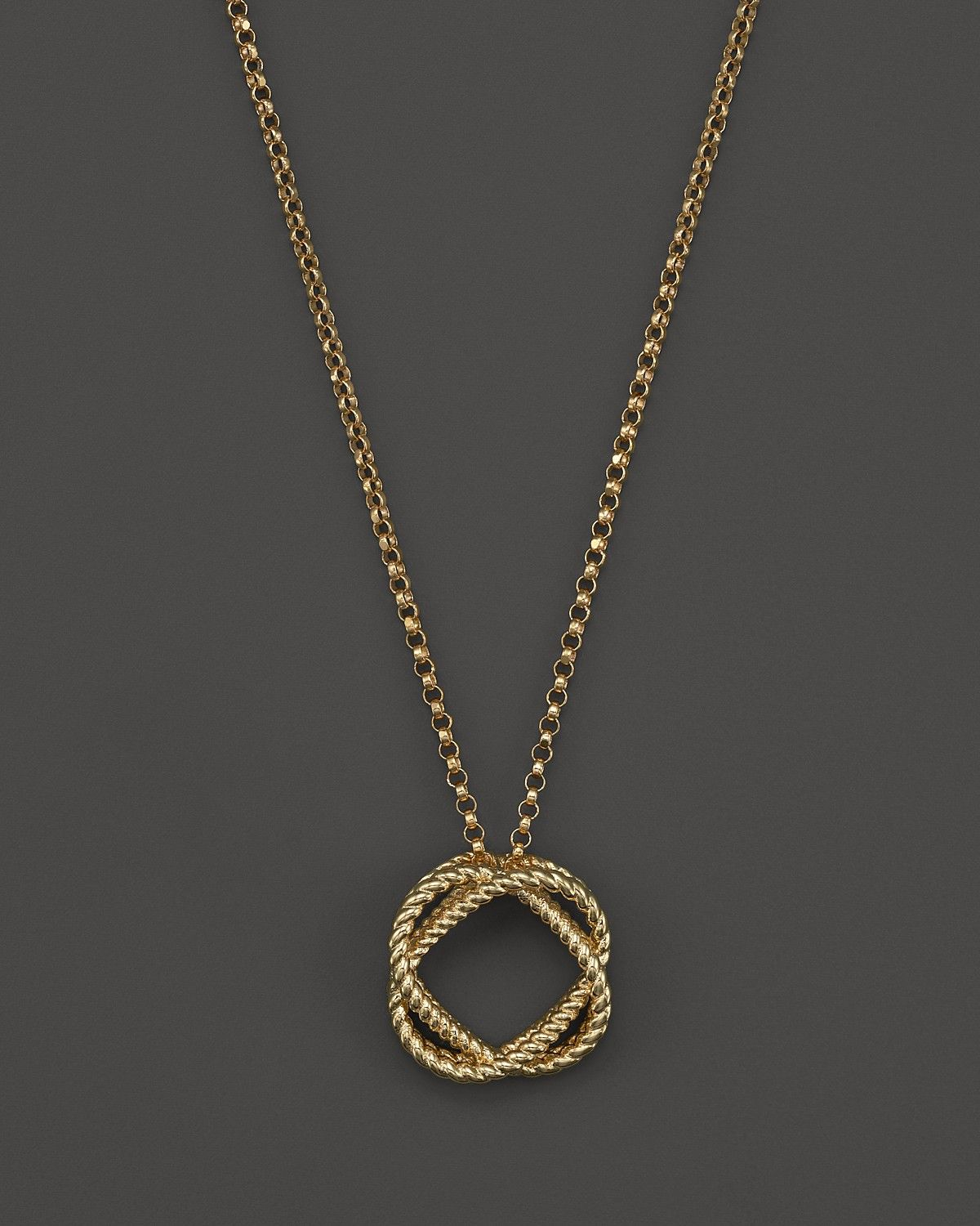 6a02dad811f 18K Yellow Gold Small Twisted Circle Pendant Necklace, 16 | Fine ...