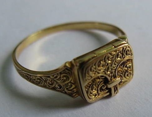 Elegant 19th Century Envelope Ring - Envelope locket mourning ring, opens onto compartment that would have stored a lock of the deceased's hair.