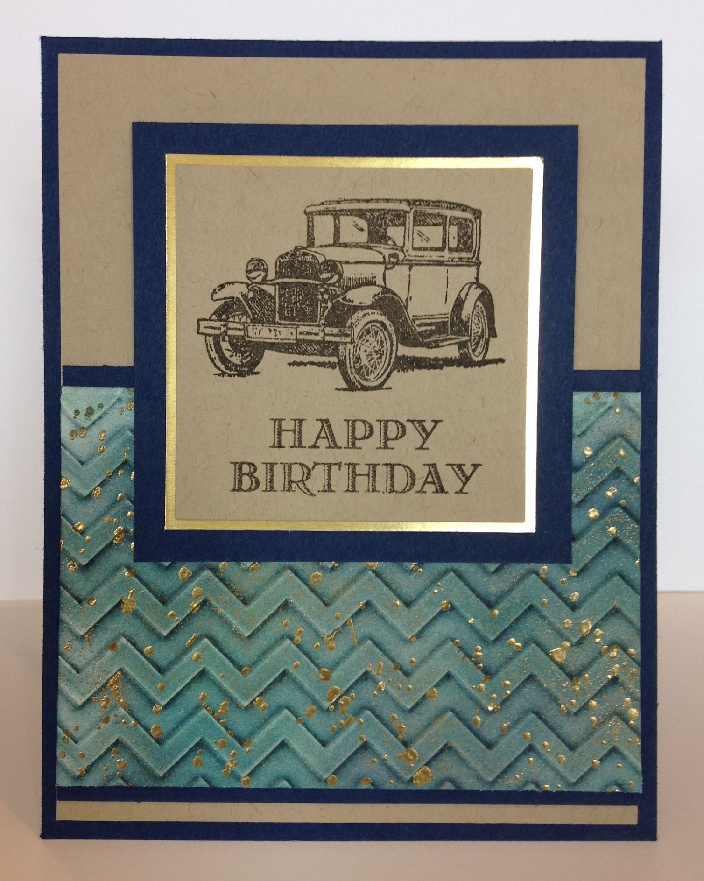 Guy Greetings, faux patina on embossing folder