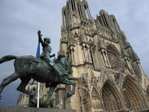 Reims Cathedral And Joan Of Arc Statue