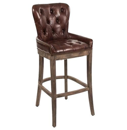 Ridley Rustic Lodge Tufted Brown Leather Bar Stool Brown Leather Bar Stools Bar Stools Leather Bar Stools