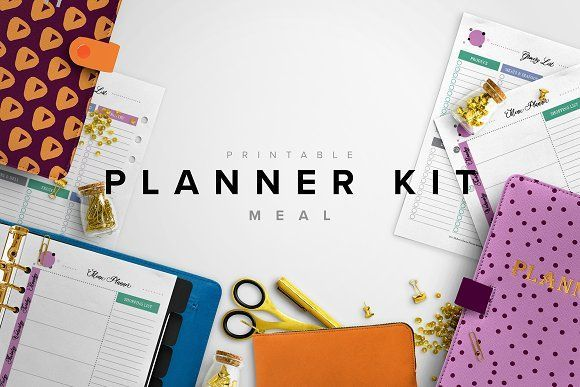 Best Meal Planner Kit - A5, A4 & Letter  CreativeWork247 - Fonts, Graph...