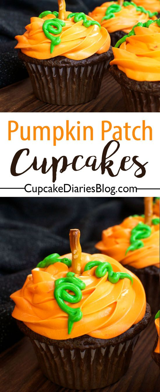 Pumpkin Patch Cupcakes \u2013 30 Days of Halloween 2016 Day 14 Recipe - how to decorate cupcakes for halloween